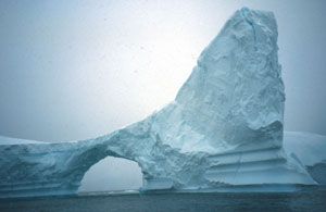Arches often form in some icebergs as they melt.